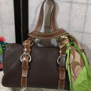 Coach Chelsea dark brown leather satchel